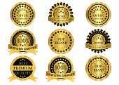 Gold promotion badges that can be used for promotion,discount,sales,marketing,product labels and anything else. poster