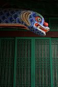 Dragon head at a Buddhist temple just out of Seoul, South Korea poster