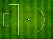 Soccer field penalty area and the ball on penalty point top view poster
