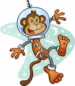 A monkey astronaut wearing a space suit and helmet, floating in zero gravity in front of a retro space background poster
