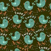 turquoise little birds tweeting on dark background seamless pattern poster