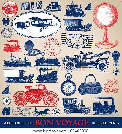 vintage travel illustrations set (vector)