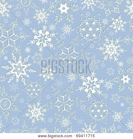 Seamless Pattern With Ornate Snowflakes