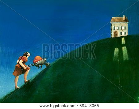 a woman climbs a with a heart in a wheelbarrow to get to a lighted house in the evening
