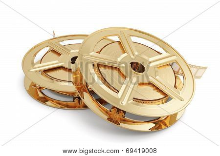 Golden Film Reels Stack