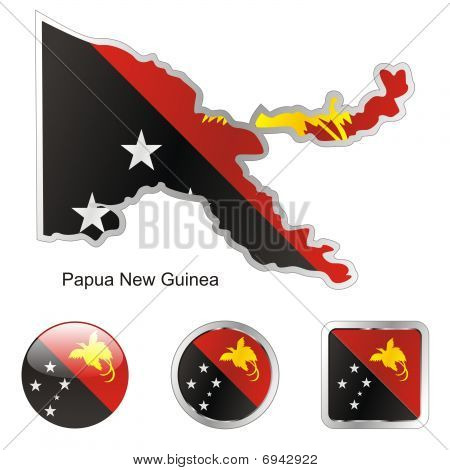 flag of Papua New Guinea in map and web buttons shapes