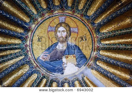 Mosaic of Jesus Christ in Hora church Istanbul poster