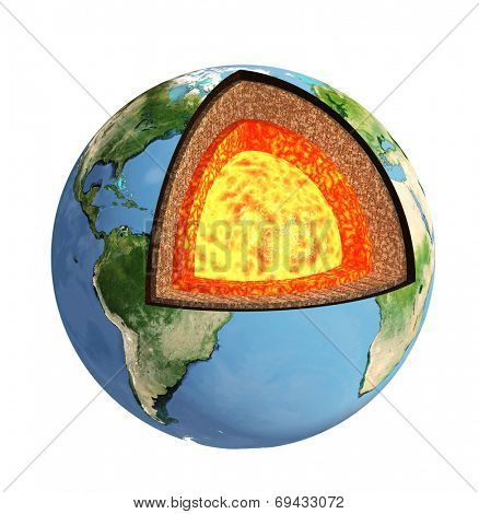 Structure of the Earth. Model isolated on white background. Elements of this image furnished by NASA