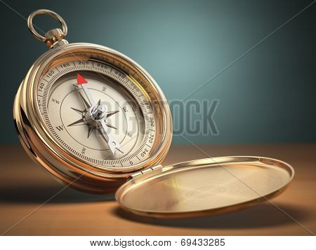 Compass on green background with space for text. Navigation. 3d