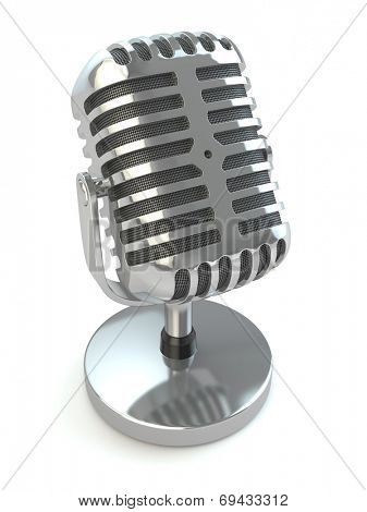 Vintage microphone on a white isolated background. 3d