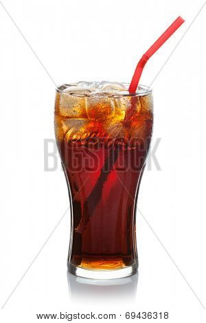 ESTONIA-JULI 09, 2014.Coca-Cola with ice cubes and straw in a glass. Coca-Cola Company is the leading manufacturer of soda drinks in the world. Illustrative editorial photo.
