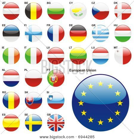 flags of the European Union States in web button shape