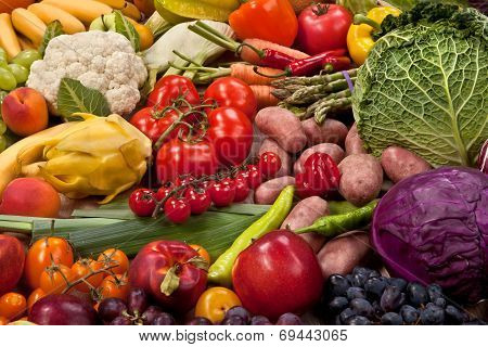 Assortment of fresh vegetables as a background