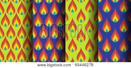 Thai Style Flame  Design Green And Purple Background