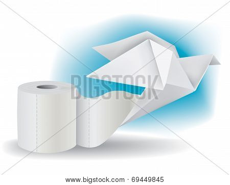 Toilet paper with Origami Pigeon