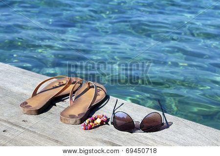 Flip-flop, Sunglasses And  Bracelets