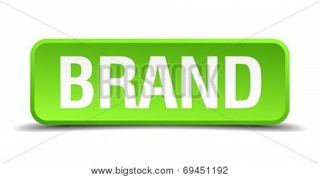 Brand Green 3D Realistic Square Isolated Button