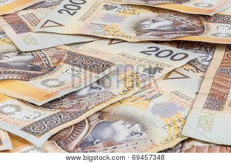 Background of 200 PLN - polish zloty banknotes poster