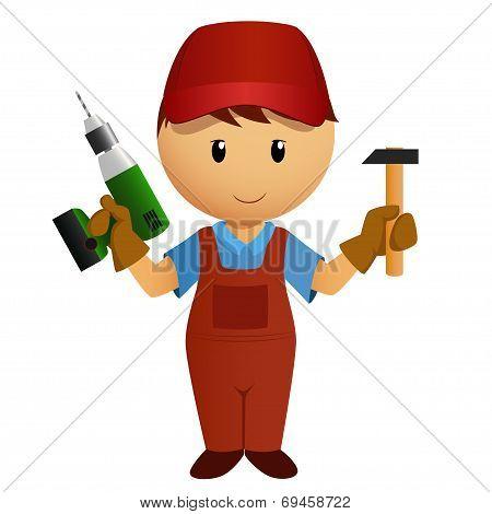 Cartoon Handyman With Hammer And Drill