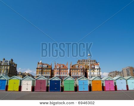 Beach huts of Hove, South England.