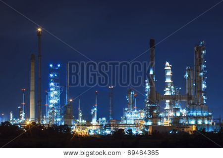Lighing Landscape Of Oil Refinery Petrochemical In Heavy Industry Estate Use For Power And Energy To