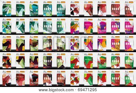 Set of business geometric design flyer templates - huge mega collection