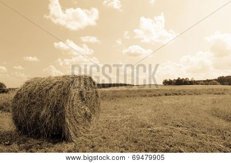 Round Bale (hay) On Sky Background - Aged Photo