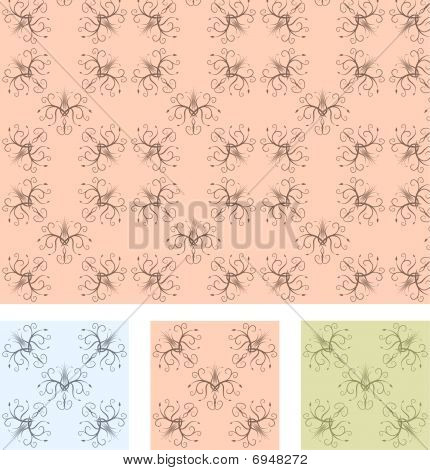 Retro wallpaper seamless pattern with 3 different color samples