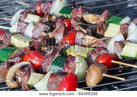 Meat And Vegetable Skewers