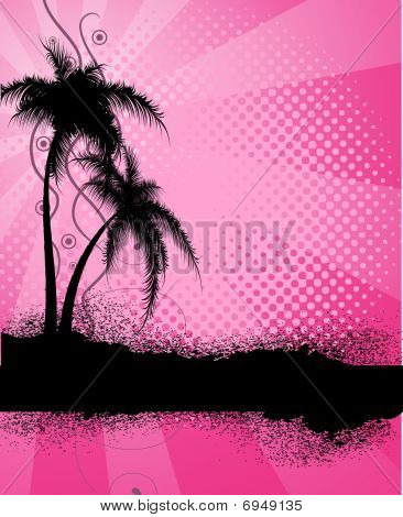 Pink  background with palm trees