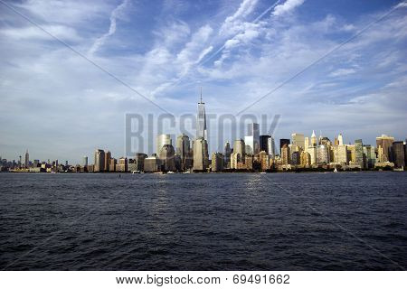 Freedom tower and New York skyline