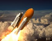 Space Shuttle In The Clouds. 3D Scene. poster