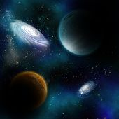 Space background with fictional planets and galaxys poster