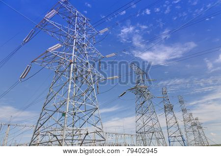Electrical transmission tower under clear sky