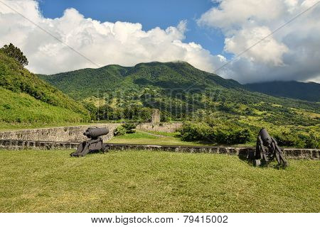 Old colonial fortress Brimstone Hill in St Kitts the Caribbean poster