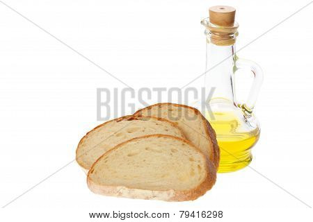 Olive Oil And Pieces Of Bread