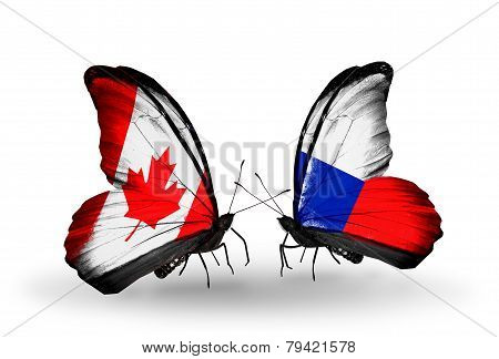 Two Butterflies With Flags On Wings As Symbol Of Relations Canada And Czech