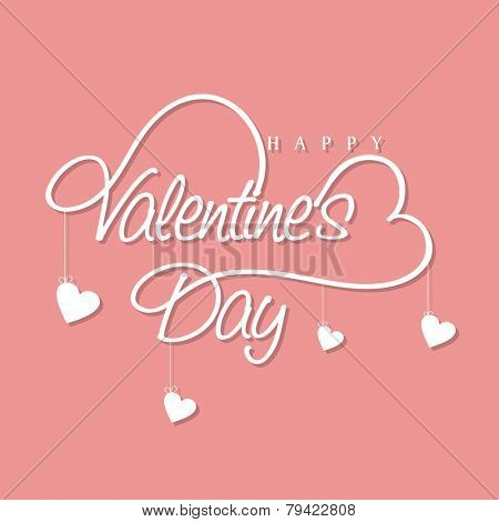 Stylish text of Happy Valentine's Day with hearts hanging by text on pink background.