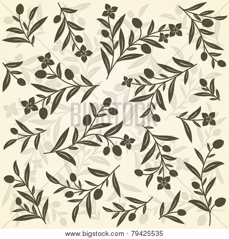 Old background with olive branches