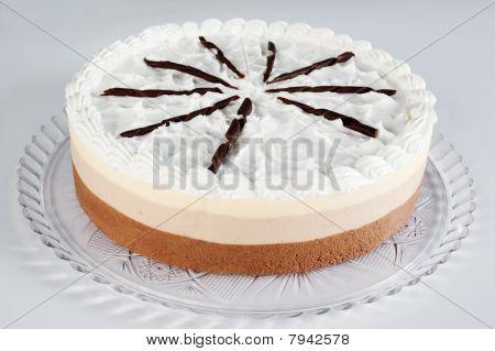 white chocolate and nougat cake