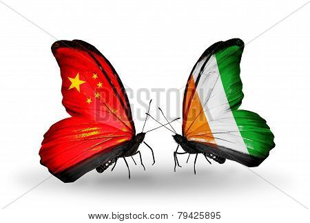 Two Butterflies With Flags On Wings As Symbol Of Relations China And Cote Divoire