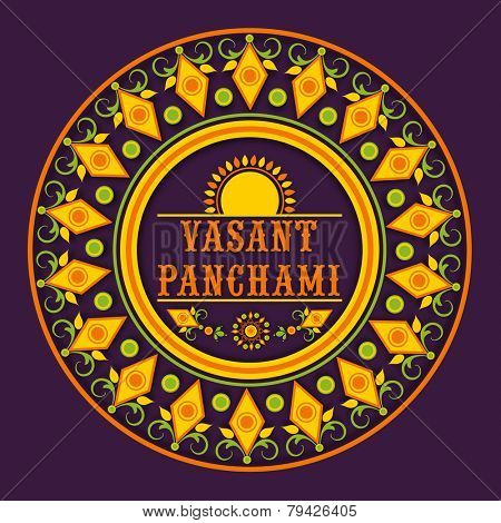 Beautiful floral decorated rangoli for Happy Vasant Panchami celebration.