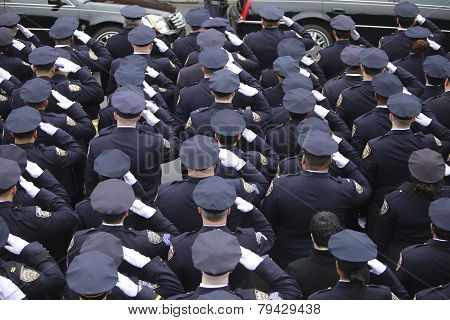 NYPD saluting in formation