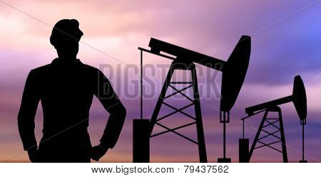industry, oilfield, people and development concept - black silhouette of oil worker and pump jack poster