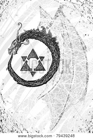 Monochrome drawing Ouroboros - snake biting its own tail poster