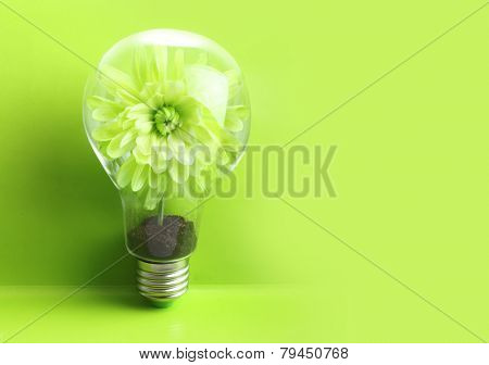 Green plant in soil inside light bulb on green background. Eco concept.