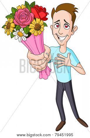 In love man giving bouquet of flowers