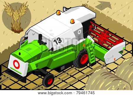 Isometric Green Thresher At Work In Rear View