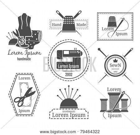 Vintage tailor logo or badges. Set of logos on the theme of sewing and crafts. Vector illustration poster