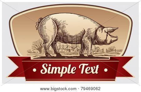 Graphical pig in landscape.
